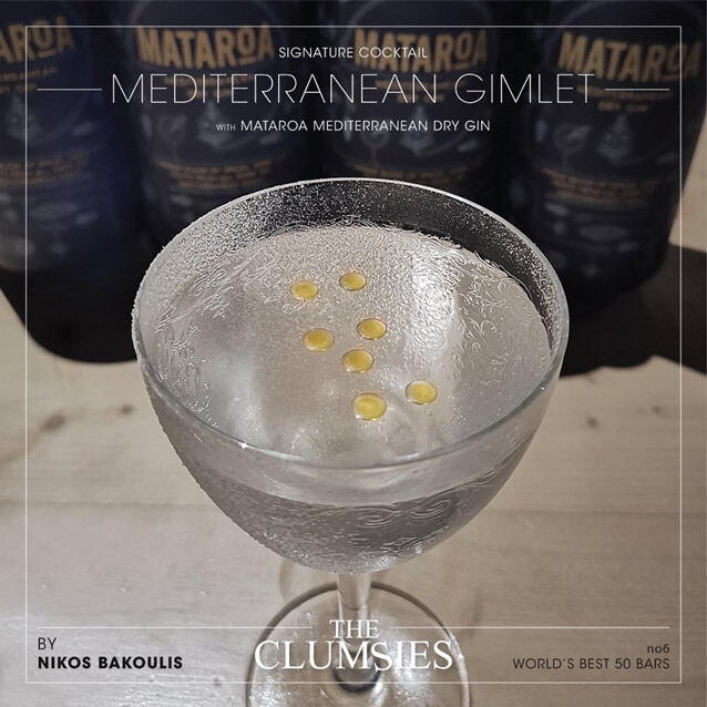 A signature cocktail by Nikos Bakoulis of The Clumsies Bar, Athens - MEDITERRANEAN GIMLET